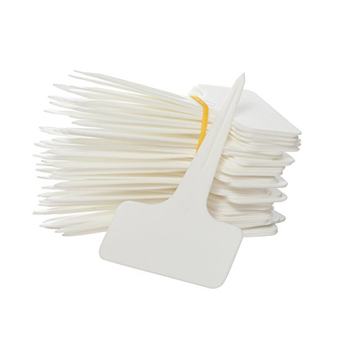 Prudance 50pcs Waterproof T Tag Plant Markers - Premium Nursery Garden Labels - Eco Friendly - White (Plant Price Best Pots)