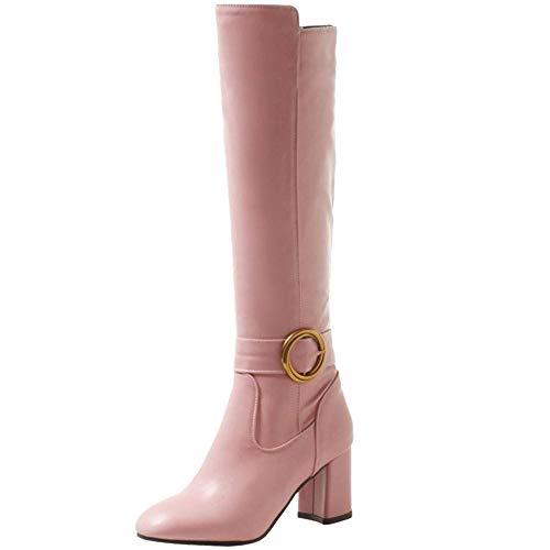 Longue 8 Pink Taoffen Chaussures Simple Bottes Avec Femmes Fermeture Talon Hautes Éclair Haut Solid aOwxtUTO