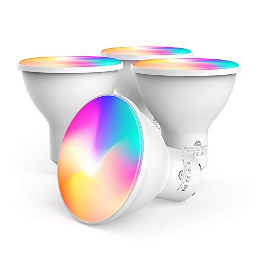 MoKo Smart WiFi LED Spot Light Bulb 5W GU10 Dimmable Spotlight RGB + Cool + Warm Light Work with Alexa Echo,Google Home…