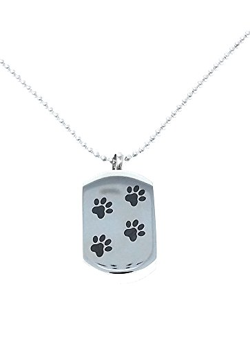Dog Tag Style Pet Cremation Jewelry Ash Necklace with Paws