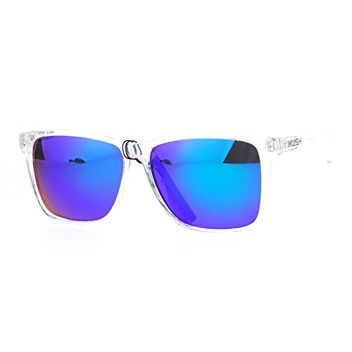 SA106 Kush Color Mirror Large Clear Plastic Frame Sport Sunglasses Teal