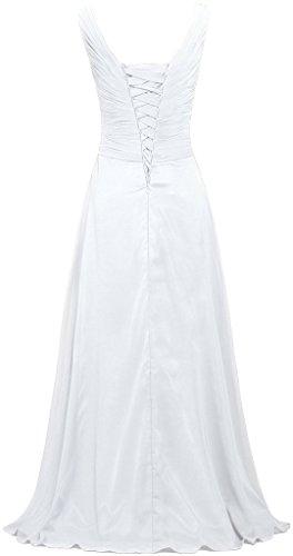 Fourmis Sans Manches Col V Femmes Longues Robes De Mousseline De Soie Robes De Demoiselle D'honneur Blanc