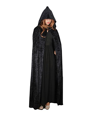 Witch Costumes - Orfila Women Full Length Halloween Cloak Masquerade Velvet Hooded Cape Robe Drama Cosplay Costumes Witch Wizard Magician,Black