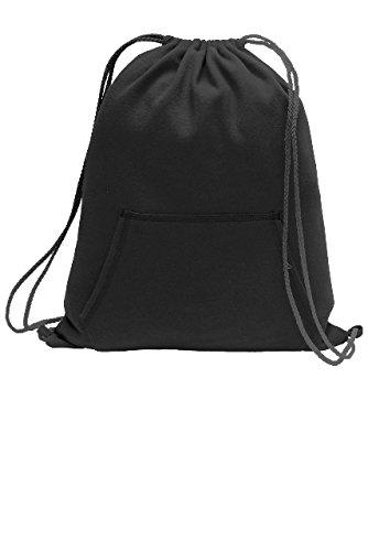 Drawstring Fleece Sweatshirt (Port & Company Sweatshirt Cinch Pack BG614 Jet Black One Size)