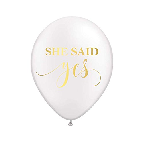 She Said Yes Balloons in White and Gold Great for Bridal Shower or Engagement Party, Engaged Photo Prop Balloons, Engagement Photo Prop Balloons, Engagement Party Decorations, Set of 3 -