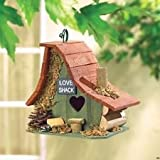 Love Shack Birdhouse with Heart Shaped Entrance Forest Theme Accents