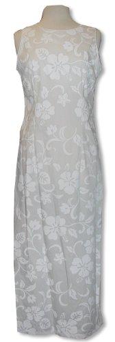 Long Tank Dress - Classic Hibiscus Hawaiian Aloha Tailored Fit Ankle Length Sheath Dress in Wedding White - XS ()