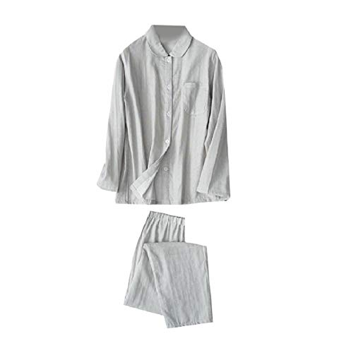 Abetteric Womens Soft Chic Lounger Back Cotton Polka Dot Print Sleepwear Set Grey M