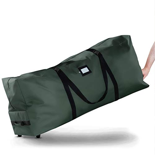 Rolling Christmas Tree Storage Bag - Fits Up To 7.5 ft. Tall Artificial Disassembled Trees, Durable Handles & Wheels for Easy Carrying and Transport - Tear Proof 600D Oxford Duffle Bag 5 Year Warranty