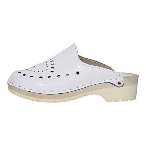 Femmes Hollert Cuir Véritable Bois Pia Chaussures Mules en Blanc Sabots 4XqxT41n
