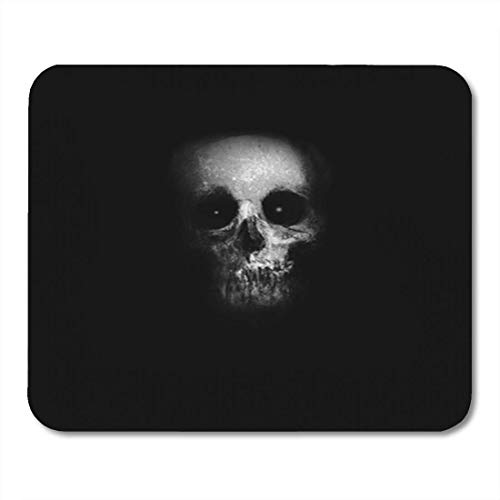 MPD Gaming Mouse Pad Black Scary Skull Spooky Halloween Bone Danger Dark Dead 7.18.7 Inches Decor Office Nonslip Rubber Backing Mousepad Mouse Mat -