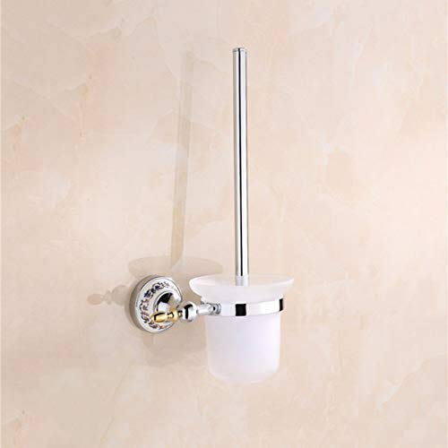 PQPQPQ Christmas European Style Contemporary Chrome Plated Blue and White Porcelain Bathroom Fittings, Single and Double bar Toilet Paper Holder,Toilet Brush