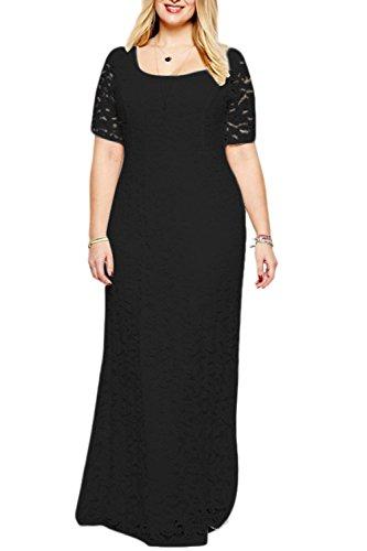 YACUN Mujeres Plus Size Lace Maxi Vestido Largo Vestido De Noche Formal Black
