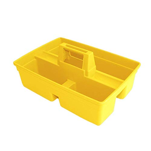 Amigos Store Plastic Handy Caddy Carry Bucket Basket with Soft Grip (Standard Size, Yellow)