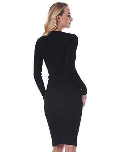 Elastic Women's Dress Midi Kenancy Black Pencil Knit Sweater Sleeve Slim Solid Dress 1 Long Bodycon 0q7qBP1d