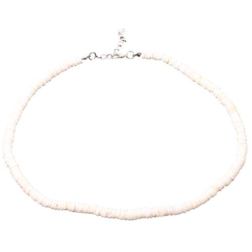 - Hawaiian Smooth Puka Shells Necklace Vintage Natural Shell Piece Rule Handmade Necklace Men's Necklaces Boys' Necklaces LUORATA (White, B-35cm Long)