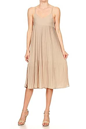 Anna-Kaci Womens Juniors Sleeveless Spaghetti Strap Pleated Midi Cocktail Dress, Beige, Small