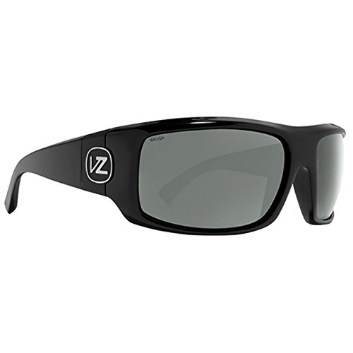 VonZipper Mens Clutch Sunglasses, Black Satin w/Wild Gray Polarized Lens, One Size