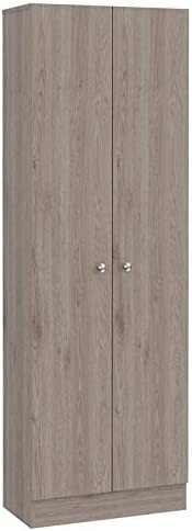 """Tuhome 71"""" Multistorage two-door pantry cabinet in light gray"""