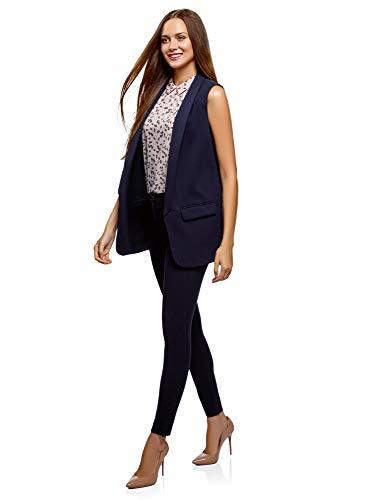 Cierre Chaleco sin Mujer 7900n Largo oodji Ultra Azul xq4aF1xSw