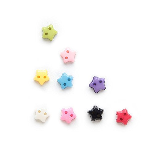 Barfeer Colorful Super Lovely Mini 100Pcs Mini Mixed 2 Hole Resin 6Mm Buttons Star Decor Sewing Card Making Diy Decorative
