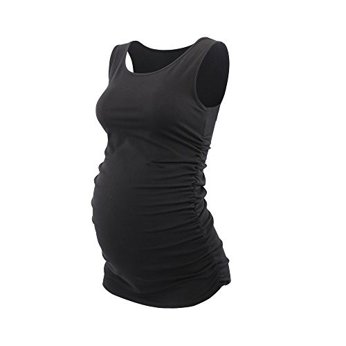 (Pregnant Maternity Top, ZUMIY Nursing Breastfeeding Top, Women's Cotton Round Neck Ruched Waist Maternity Cami Shirt Black, L)