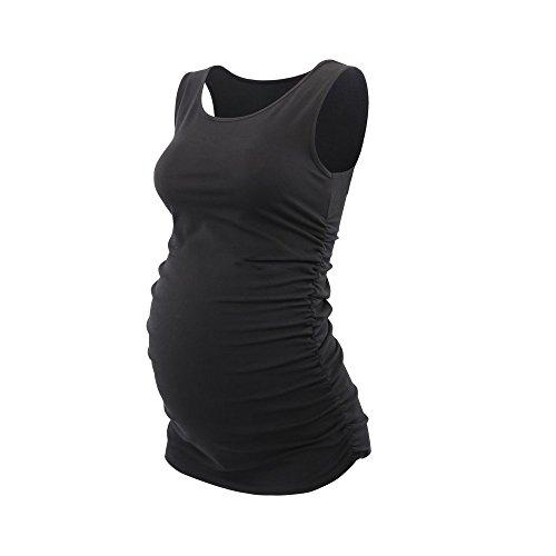 Topwhere Umstandsmode, Damen Baumwolle Schwangerschafts-Shirt Still-Tank Top Black+blue