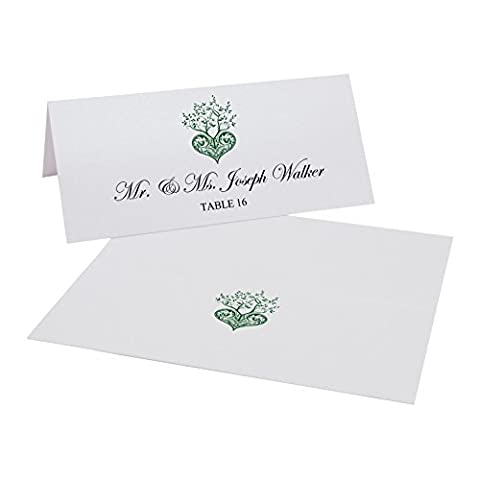Tree of Life Heart Easy Print Place Cards, Pearl White, Hunter Green, Set of 125 (32 Sheets) - Tree Place Card