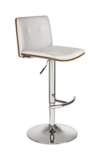 DHP Wexford Swivel Barstool, Adjustable Height, White Faux Leather/Walnut (Chrome Wide Bar Stool)