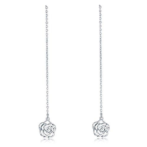 - MaBelle 14K White Gold Diamond-Cut Rose Flower Threader Link String Earrings