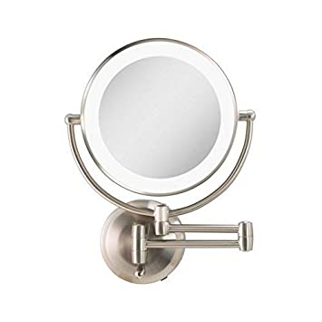 Amazon Com Zadro Led Lighted Dual Sided 5x 1x Magnification Wire Free Cordless Wall Mount Bathroom Beauty Makeup Grooming Mirror With 9 5 Extendable Arm Satin Nickel Beauty