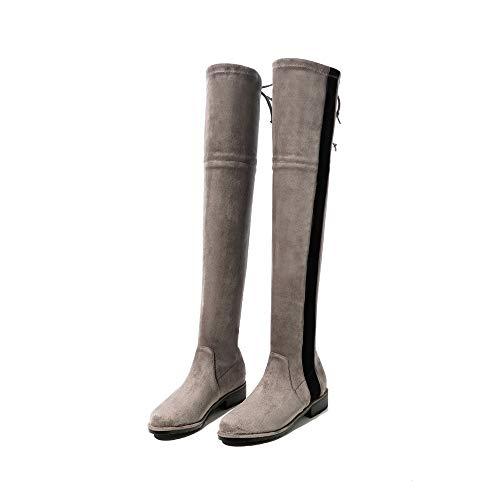 y con Unidos e la cuero invierno TSNMNB de otoño en de de en los las Estados botas estación las de el grueso el mujeres botas c la copa rodilla Europa sobre cuero de puntiagudas de color terciopelo de 5qvvx40Z