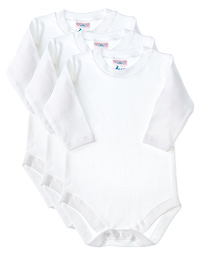 Baby Jay Long Sleeve Onesies 3 Pack - White Ultra Soft Cotton Undershirt - Boys and Girls Baby and Toddler Bodysuit