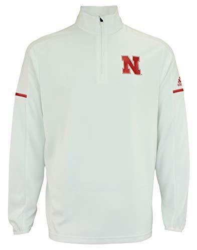 adidas Men's NCAA Team Logo 1/4 Zip Pullover, Nebraska Cornhuskers-White Medium