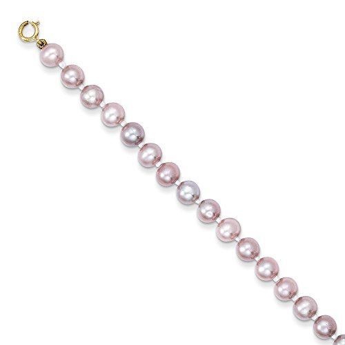 PriceRock 14k Yellow Gold Simulated Pink Pearl Bracelet 5.25 Inches Long (Pearl Necklace Bracelet Real Pink)