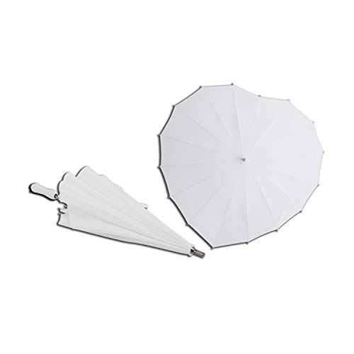 AoGV White Heart Shaped Wedding Parasol Umbrella for Bride, Engagement Photography and Photo Props