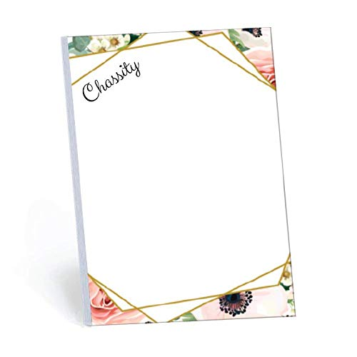 Elegant Floral Set of 2 Personalized Memo Pads/Notepads, 2 pads - 50 sheets per pad. Available in 5.5