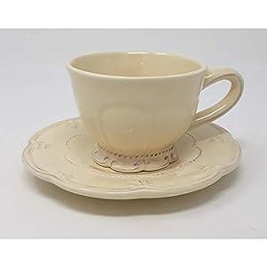 Clayre & Eef 6CE0263 - Tazza da caffè con piattino, Ø 15 x 7 cm