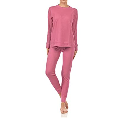 BASICO Women's 2pc Long John Thermal Underwear Set 100% Cotton at Women's Clothing store