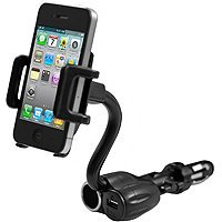 3 in 1 Cell Phone & PDA Car Mount w/ USB Port Charger and Cigarette Power Outlet-Rotating-Flexible-iPhone7/Plus/6s/6, Samsung S8/S7/S6/S5, Nexus 6P / 5X, LG G5, HTC 10 and more devices - by Cellet from Cellet
