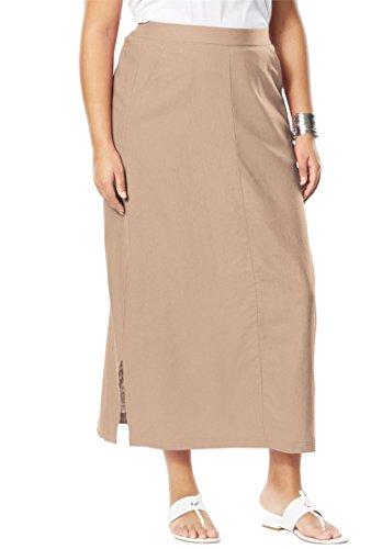Jessica London Women's Plus Size A-Line Linen Skirt New Khaki,18 (Flat Front Linen Skirt)