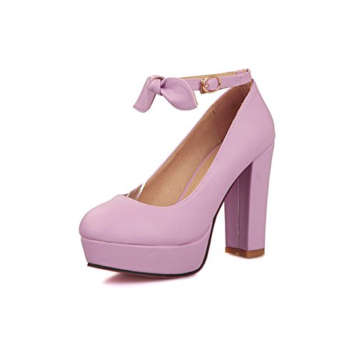 Womens Color Buckle CHFSO Heel High Round Toe Candy Strap Platform Bow Chunky Shoes With Purple Ankle Pumps XfHxwqH1