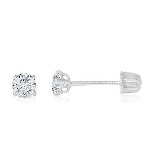 Ioka - 14K White Gold Round Solitaire Cubic Zirconia CZ Stud Screw Back Earrings - 0.1ct (3mm) ()