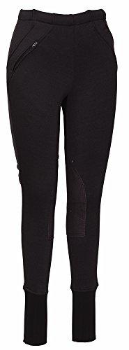 (TuffRider Ladies Unifleece Knee Patch Riding Pull Ons Black 34 (100-54-92) )