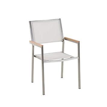 Chaise de Jardin - Acier INOX et Textile Blanc GROSSETO: Amazon.fr ...