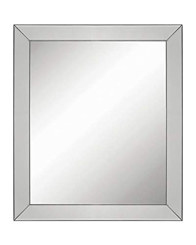 Large Luxury Elegant Framed Wall-Mounted Mirror with Angled Beveled Mirror Frame, Vanity, Entryway, Bedroom, or Bathroom Mirror, Rectangle Hangs Horizontal or Vertical (Full Size: 24.5