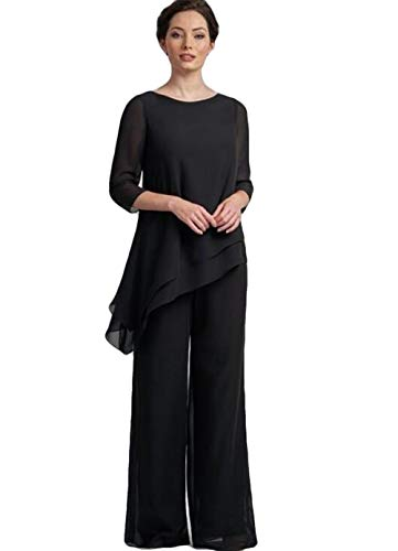 2019 Mother of The Bride Suits Formal Party Prom Dress Jewel Wedding Guest Mother's of The Bride Pant Black