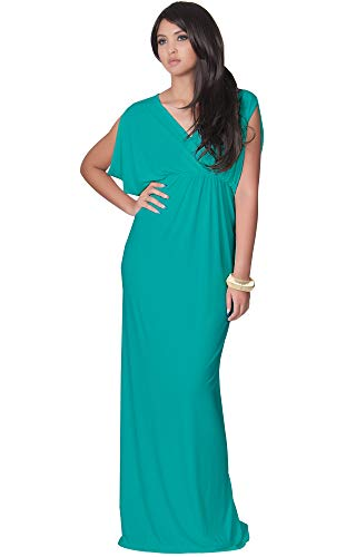 KOH KOH Womens Long Sexy Grecian Short Sleeve Summer Empire Bridesmaid Bridesmaids Wedding Guest Casual Party Evening Sundress Gown Gowns Maxi Dress Dresses, Turquoise M 8-10