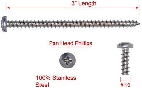 25pc #10 X 3 Stainless Pan Head Phillips Wood Screw, Stainless Steel Screws by Bolt Dropper 18-8 304