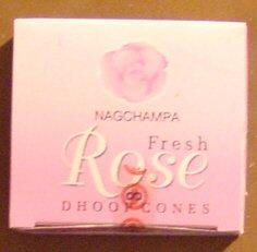 (Fresh Rose Cones - Box of 12 Packages (144 Cones Total) - Satya Sai Baba Incense)